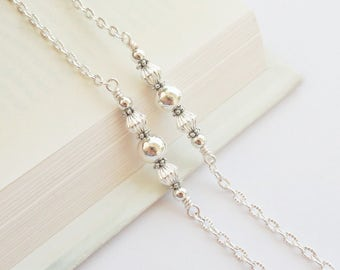 Silver Glasses Chain, Pretty Silver Lanyard, Simple Silver Eyeglass Chain, Silver Eyeglass Holder Necklace, Silver Glasses Holder for Her