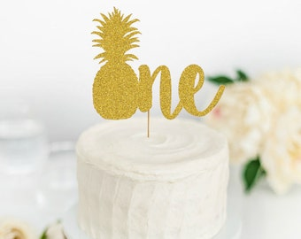 Pineapple One Cake Topper - First Birthday Cake Topper - Party Like a Pineapple 1st Birthday - Smash Cake Topper - Tutti Fruity Party Decor