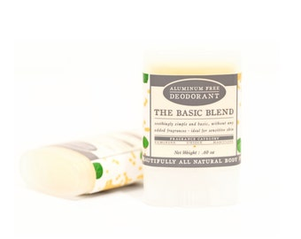 The Basic Blend Travel Size Deodorant - All Natural & Aluminum Free Deodorant - Fragrance Free - No Scent Added