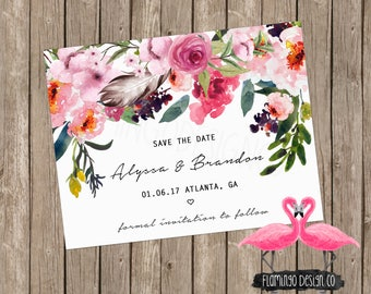 Floral Save The Date - Chic Save The Date - Boho Save The Date - Modern Save The Date - Custom Save the Date