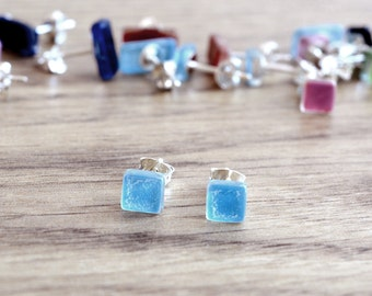 Turquoise stud earrings, Tiny turquoise earrings, Mini post earrings, SterlingSilver stud, Square earrings, Fused glass jewelry