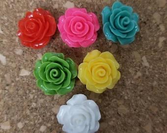 Flower Thumbtacks  - Set of 6