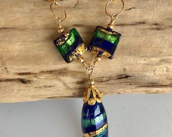 Murano Glass Gold Necklace / Blue Italian Glass Gold Necklace / Blue and Gold Murano Glass Necklace