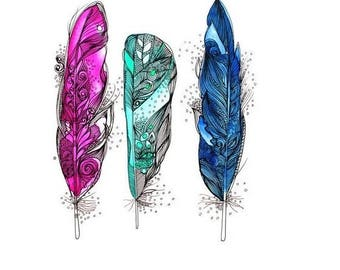 Green Feather Tattoo Etsy