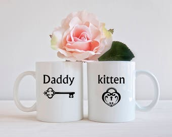 BDSM couples coffee mugs, matching mugs, kitten, daddy, BDSM mugs, gifts for couples, personalized gifts, submissive, dominantion, S and M
