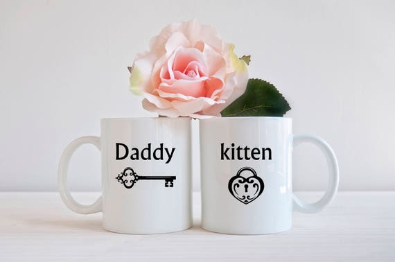 BDSM couples coffee mugs, matching mugs, kitten, daddy,  gifts for him, gifts for her, gifts for couples, personalized gifts, gifts under 25