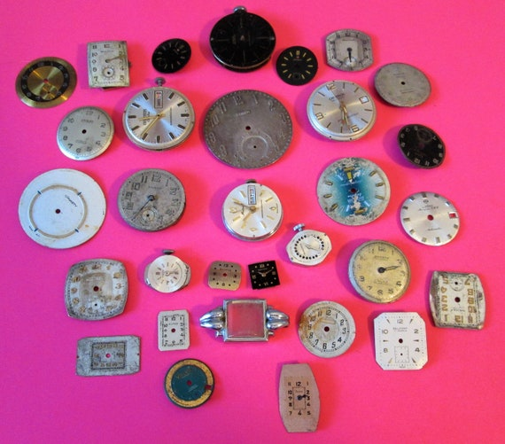 30 Assorted Antique & Vintage Pocket and Wrist Watch Dials for your Watch Projects - Steampunk Art - Metalworks - Jewelry Making,