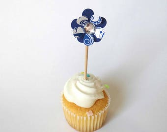 Mini Cupcake Flower Topper, garden party, birthday party accent, flower power, layered flower topper