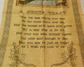 Vintage Linen Tea Towel with Scots Toast