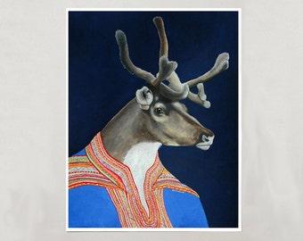 Art Print - Sami Reindeer - Signed by Artist - 3 Sizes - S/M/L