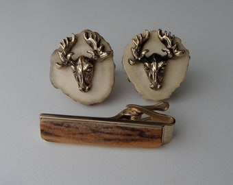 SWANK Cuff Links & Tie Clip Set, Genuine Deer Antler with Moose, Vintage 1950's