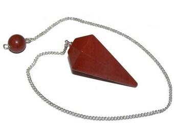 Faceted red Jasper pendulum