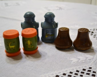 Vintage Salt and Pepper Shakers Plastic Ceramic Wood Collectible Set of 3 Kitsch Kitchen Decor PanchosPorch