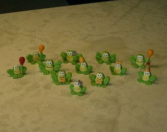 Set of 12 Frog Cupcake Toppers