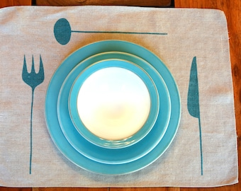 Amazing! 4 Mid Century Modern Turquoise Placemats.