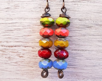 Czech Glass Earrings, Boho Earrings, Faceted Earrings, Rustic Jewellery, Red Earrings, Green Earrings,Blue Earrings, Orange Earrings. Gift.