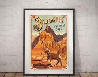 badllands, badlands national park, travel poster, wall decor, vintage