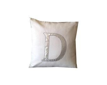 Monogrammed Silver Pillows, Silver Personalized Pillows, Metallic Decorative Pillow Cover, Wedding Gift, Monogram Pillow Case