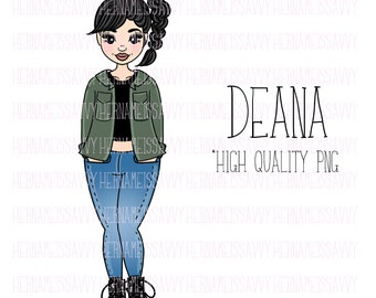 Deana || Fashion Illustration | | hernameisSavvy | | Planner Stickers | Die Cuts | PNG | Download