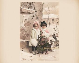 Edwardian Winter Girls New 4x6 Vintage Postcard Image Photo Print CE301