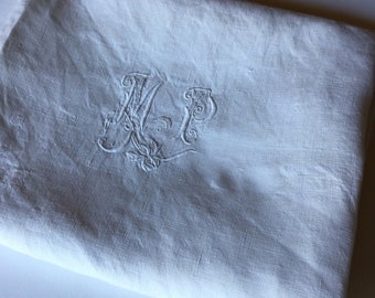 Antique Victorian Large Table Napkin Embroidered Monogram M P  France 1800