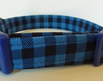 "FREE SHIPPING - Boy Dog Collar - Black & Blue Lumberjack Mini Buffalo Plaid Collar - ""Bailey"" - Free Colored Buck"