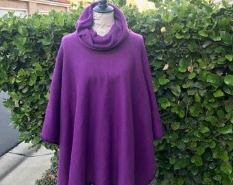 Purple fleece poncho with a cowl