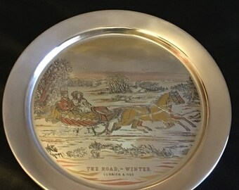 ON SALE Vintage Danbury Mint Sterling Silver 1972 Currier & Ives The Road Winter Christmas Plate