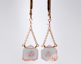Pink Tourmaline Slice Earrings in Rose Gold, Watermelon Tourmaline Slice Earrings