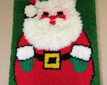 """Vintage 60's Christmas Latch Hook Wall Hanging Santa Clause 27"""" long"""