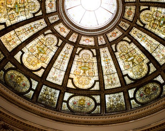 Chicago Photography, Architecture Photography, Gold Wall Art, Chicago Landmarks Prints, Stained Glass Ceiling Art, Glory