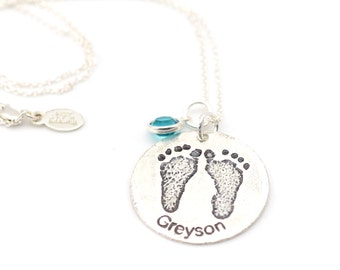 Baby Footprint Necklace • Personalized Gift For Her • Mother's Day Gift • Gift for Mom • Keepsake Memorial Necklace