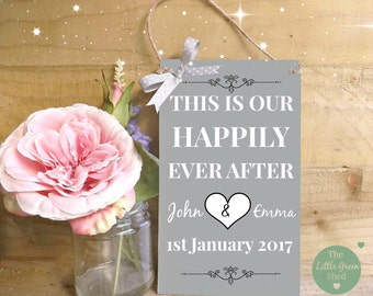 Wedding Anniversary Plaque Sign Personalised  Shabby CHIC