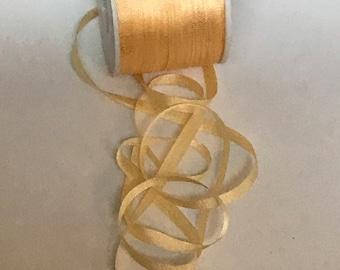 Soft butter yellow 7mm silk ribbon 5 yards