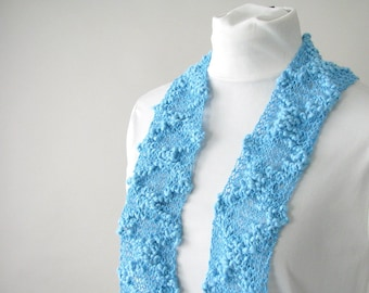Handknit Cotton Lace Turquoise Scarf - Summer Fashion Scarf