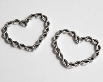 5 Braided Open Heart Charms Connectors closed soldered twisted jump rings antique silver 33x26mm P3392