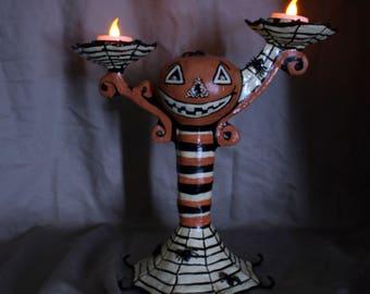 Pumpkin Head, Jack O' Lantern, Halloween Decor, Jack O' Lantern Centerpiece