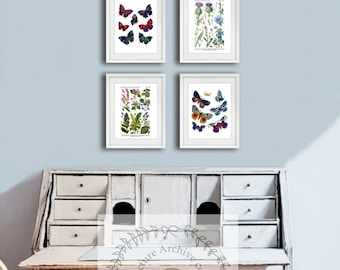 Butterflies & Wildflowers Wall Art Prints set of 4 Girl Room Decor, Spring Girl room Decoration, Butterflies Wall Art #Spring402