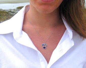 Three Stone Sea Glass Necklace   Sea Glass Necklace   Beach Glass Necklace   Circle of Life Necklace   Beach Style Necklace