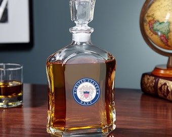 US Navy Crested Whiskey Decanter - Argos Glass Decanter - Great Gift for Navy Personnel - Ideal Military Gifts for Retirement or Birthday