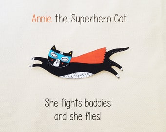 Cat brooch gift- superhero cat pin - wearable cat art - a hand drawn original design - cat christmas gift for her
