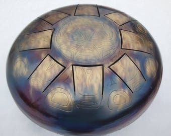 "12"" tankdrum ""Azteс"" Steel tongue drum, handpan"
