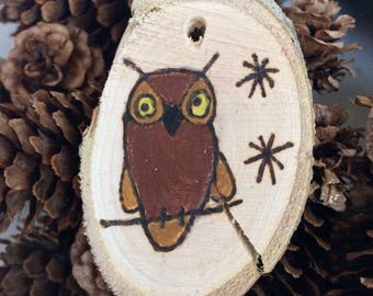 Woodburning,owl, hanging,Christmas tree decoration,twine,handpainted,raedymade