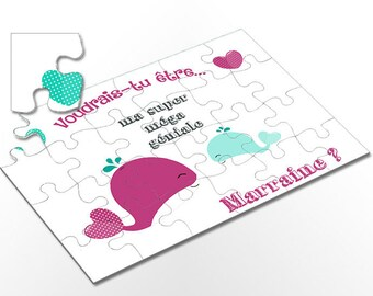 Will request godmother _ PUZZLE you be my godmother? Pink whale