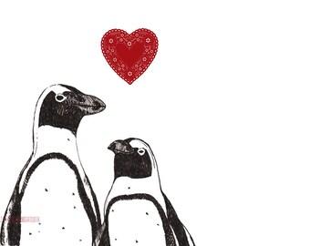 Pingouin - reproduction d'Art - l'amour amour Valentine noir et blanc paire