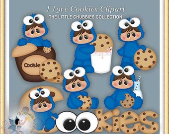 Baby Clipart, Chubbies, I Love Cookies