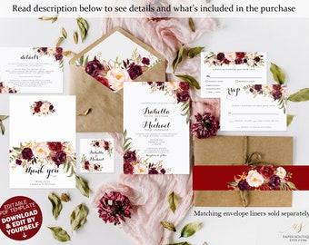 Marsala burgundy Wedding Invitation Suite Marsala Wedding Invitation Template Editable Wedding Invite Rustic Floral Wedding Invitation #A02