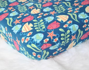 Kissing Tropical Fish Crib Sheet, Ocean Crib Sheet, Fish Toddler Sheet, Ocean Nursery, Boy Crib Sheet, Blue Crib Sheet