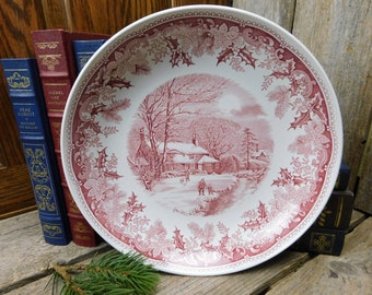Vintage Spode Red Winter's Eve Individual Pasta Bowl or Serving Bowl - England