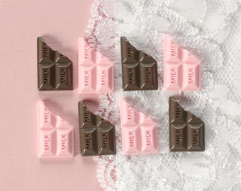 8 Pcs Pink and Brown Milk Chocolate Bar Cabochons - 19x13mm